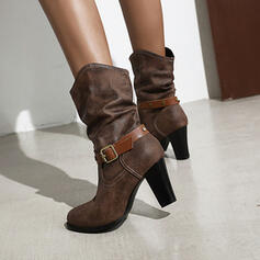 Women's PU Chunky Heel Boots Mid-Calf Boots High Top With Buckle shoes