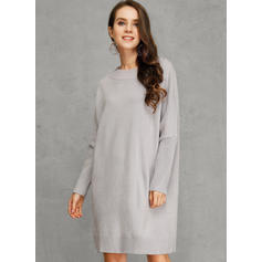 Solid Chunky knit One Shoulder Casual Long Sweater Dress
