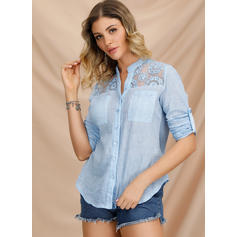Lace V-Neck Long Sleeves Casual Shirt Blouses