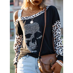 Sequins Leopard One-Shoulder Long Sleeves Casual Blouses