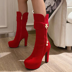 Women's Leatherette Chunky Heel Boots Round Toe With Crystal shoes
