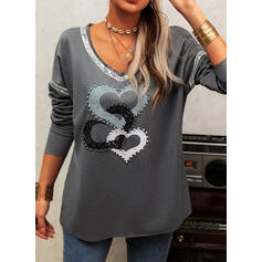 Print Sequins Beaded Heart V-Neck Long Sleeves Casual T-shirts