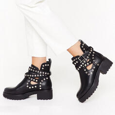 Women's PU Chunky Heel Martin Boots Round Toe With Rivet Hollow-out shoes
