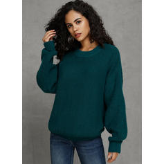 Solid Stand Collar Casual Sweaters