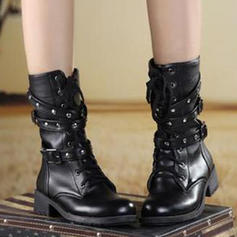 Women's PU Low Heel Boots With Buckle Lace-up shoes