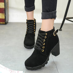 Women's PU Chunky Heel Ankle Boots With Buckle Lace-up shoes