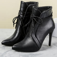 PU Stiletto Heel Ankle Boots Heels Pointed Toe With Lace-up Solid Color shoes