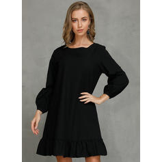 Solid 3/4 Sleeves Shift Above Knee Little Black/Casual Tunic Dresses