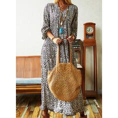 Print Long Sleeves Shift Casual Maxi Dresses