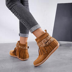 Women's Suede Flat Heel Ankle Boots Round Toe With Zipper Tassel shoes