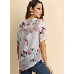 Floral Animal Print V-Neck Short Sleeves Button Up Casual Blouses
