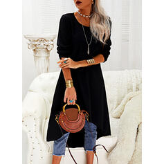Solid Long Sleeves Shift Asymmetrical Little Black/Casual Tunic Dresses