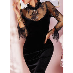 Lace/Solid Long Sleeves Bodycon Above Knee Little Black/Party Dresses