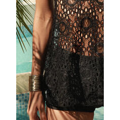 Crochet Hollow Out Knotted Lace Up Halter V-Neck Sexy Vintage Plus Size Tankinis Swimsuits