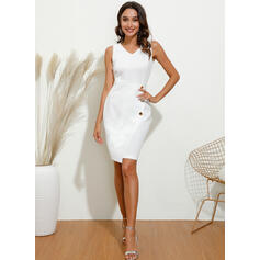 Solid Sleeveless Bodycon Knee Length Party Pencil Dresses