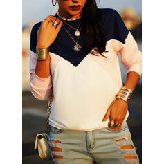 Color Block Round Neck Long Sleeves Sweatshirt