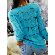 Solid Hollow-out V-Neck Casual Sweaters