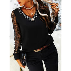 Lace Beaded V-Neck Long Sleeves Casual Blouses