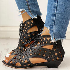 Women's PU Low Heel With Hollow-out shoes