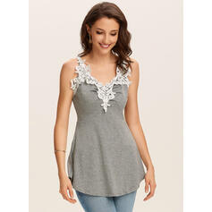 Patchwork Lace Spaghetti Strap Sleeveless Casual Tank Tops