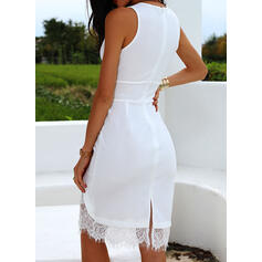 Lace/Solid Sleeveless Bodycon Knee Length Party Dresses