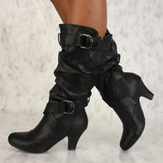 Women's Leatherette PU Stiletto Heel Pumps Closed Toe Boots Mid-Calf Boots With Buckle Ruffles shoes
