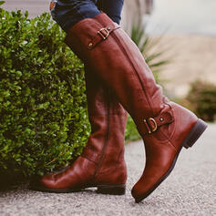 Women's PU Flat Heel Martin Boots Round Toe With Buckle Solid Color shoes