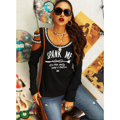 Print Beaded Letter Cold Shoulder Long Sleeves Casual Sexy Blouses