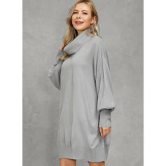 Solid Long Sleeves/Lantern Sleeve Shift Above Knee Casual Tunic Dresses