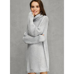 Solid Pocket Turtleneck Casual Long Loose Sweater Dress