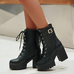 Women's PU Wedge Heel Chunky Heel Wedges Ankle Boots Martin Boots High Top With Buckle Solid Color shoes