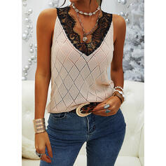 Lace V-Neck Casual Vest/Sleeveless