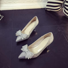 Women's Sparkling Glitter Stiletto Heel Pumps Closed Toe With Bowknot Sequin shoes