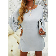 Solid Long Sleeves/Lantern Sleeve Shift Above Knee Little Black/Casual Tunic Dresses
