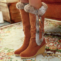 Women's Suede Wedge Heel Knee High Boots Snow Boots Round Toe Winter Boots With Tassel shoes