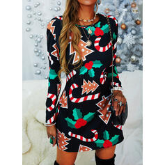 Print Long Sleeves Shift Knee Length Christmas/Party Tunic Dresses