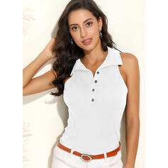 Solid Lapel Sleeveless Button Up Casual Knit Tank Tops