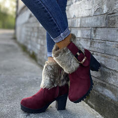Women's PU Chunky Heel Mid-Calf Boots Round Toe Winter Boots With Buckle Faux-Fur shoes