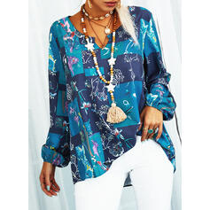 Print Floral Patchwork V-Neck Long Sleeves Casual Blouses