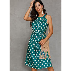 PolkaDot Sleeveless A-line Knee Length Casual/Vacation Dresses