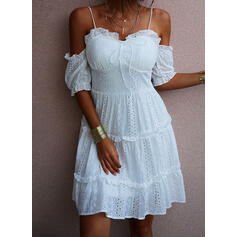 Solid 1/2 Sleeves/Cold Shoulder Sleeve A-line Above Knee Casual/Vacation Skater Dresses