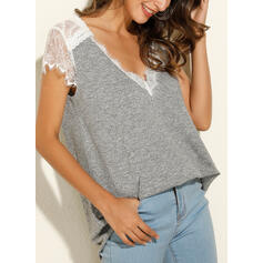 Lace Solid V-Neck Cap Sleeve Tank Tops