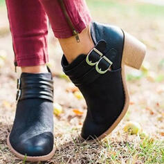 Women's PU Chunky Heel Ankle Boots Pointed Toe With Buckle shoes