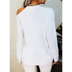 Print Leopard Heart One-Shoulder Long Sleeves Casual Blouses