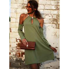 Solid Long Sleeves/Cold Shoulder Sleeve Shift Above Knee Casual Tunic Dresses