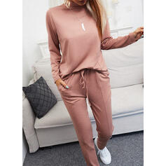 Solid Patchwork Drawstring Casual Plain Stretchy Suits