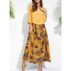 Print/Floral 3/4 Sleeves Shift Tunic Casual Maxi Dresses