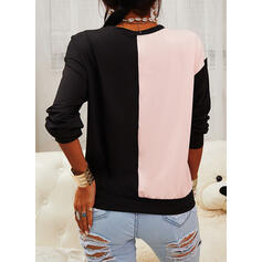 Color Block Sequins Heart Round Neck Long Sleeves Casual T-shirts