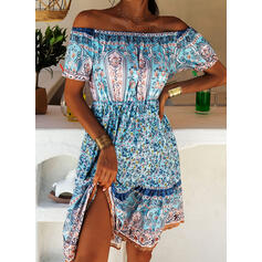 Print Short Sleeves A-line Above Knee Casual/Boho/Vacation Skater Dresses