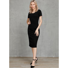 Solid Short Sleeves Bodycon Knee Length Little Black/Party Pencil Dresses